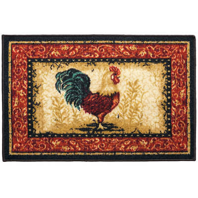 Country Rooster Kitchen Accent Rug Mat Non-Skid 20 x 30 Nylon Latex - Rooster Mat
