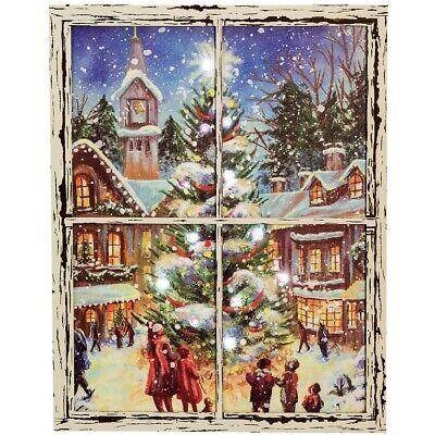 Lighted Christmas Scene CANVAS PRINT Primitive Distressed Window Frame 16x20