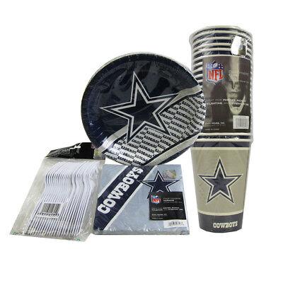 New NFL Dallas Cowboys 80pc Paper Plates Cups Forks Napkins Party - Dallas Cowboys Party Supplies