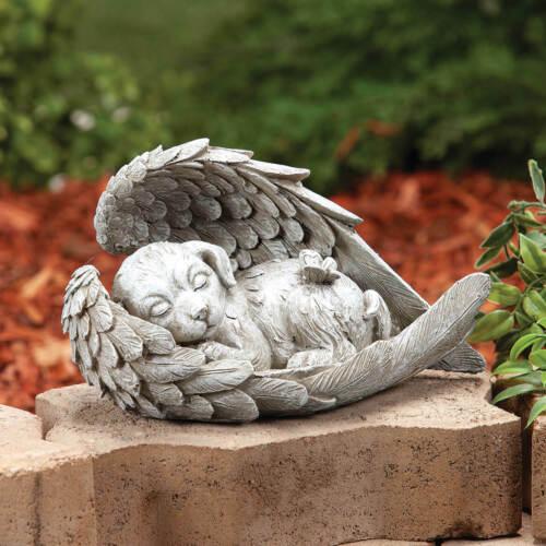 Angel Wings Sleeping DOG Memorial Statue Resin Pet