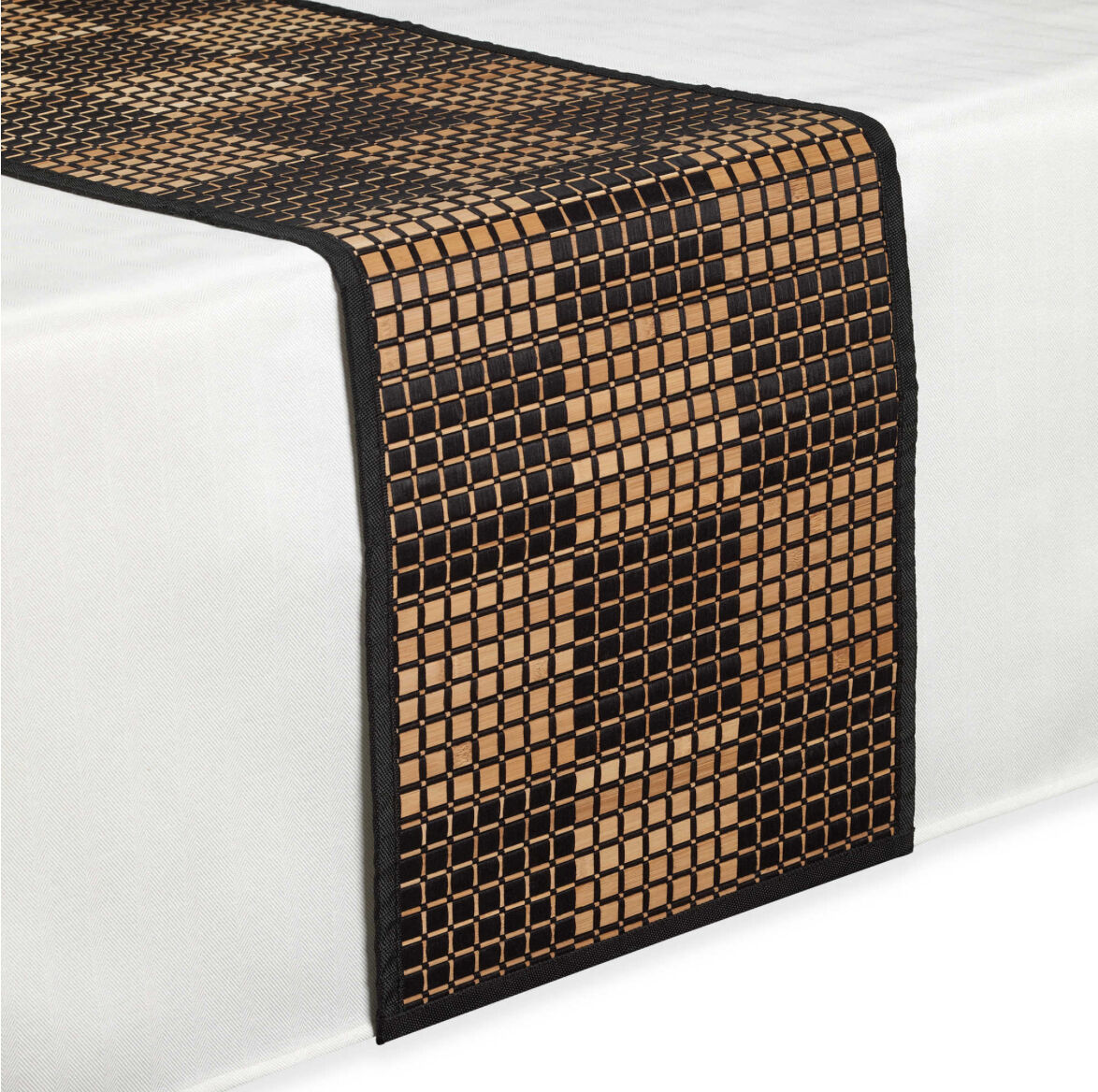 Bamboo black table runner 72 inches checkered kitchen linen dining -