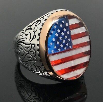 925K Sterling Silver Enameled American Flag Men Ring Special Edition K61N 925 Sterling Silver American Flag