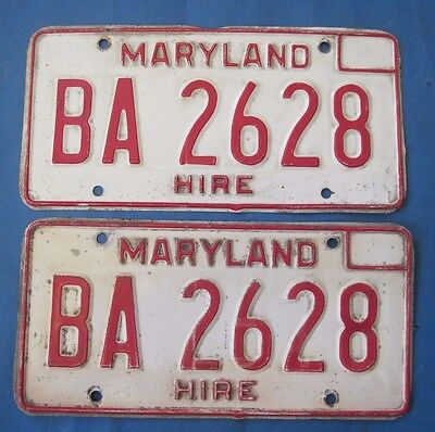 1976 Maryland License Plates matched pair For Hire