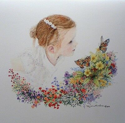 Art Card Girl Daughter Butterfly Flowers Picture Drawing Blooming Note Card