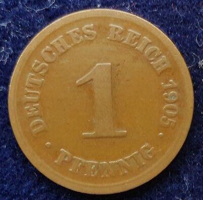 1 Pfennig 1905 D Deutsches Kaiserreich - Top Erhaltung - siehe Fotos - Jaeger 10