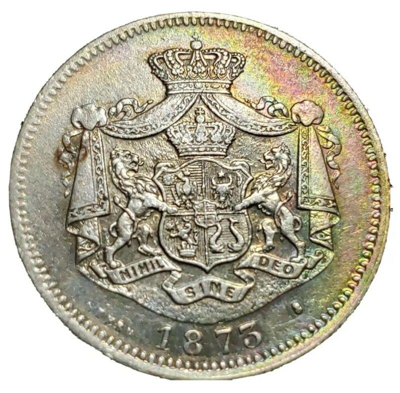 1873 1 Leu Silver.  Romania