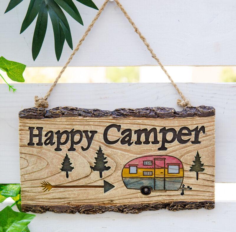 Ebros Western Rustic Pine Trees W/ Retro Trailer Caravan Happy Camper Wall Sign