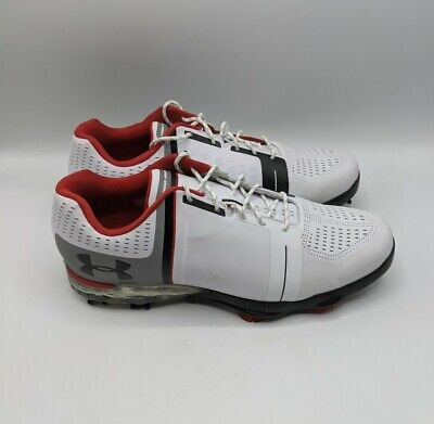 Mens Under Armour Spieth One Wide Golf Shoes White Red 1302342-108 Sz...