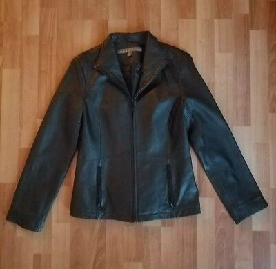 Ladies Reaction Kenneth Cole Black Leather Jacket Coat Zip Front Small S/C