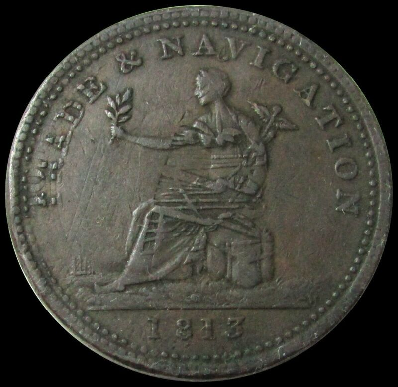 1813 NOVA SCOTIA CANADA ONE PENNY TRADE AND NAVIGATION TOKEN DOUBLE STRUCK