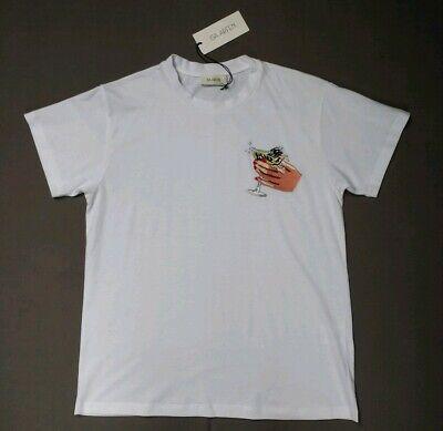 Isa Arfen AW17 - Cheers Embroidered White TShirt - UK10 - Cotton Jersey