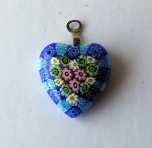 Vintage Blue Millefiori Glass Floral Heart Pendant Sterling Silver Italy