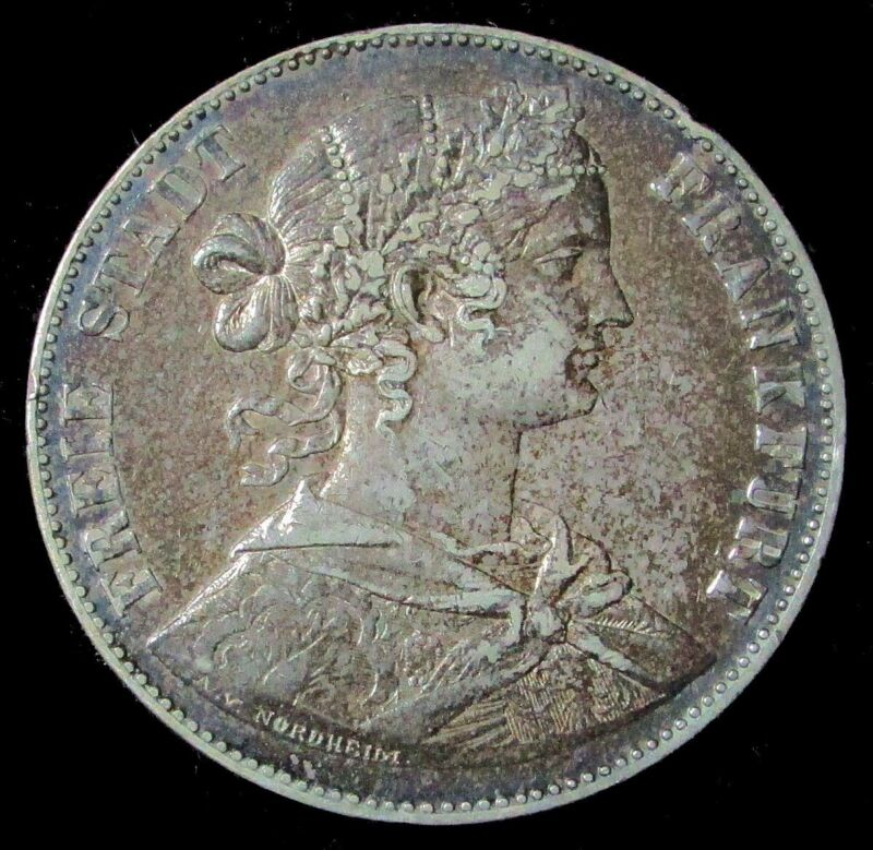 1860 SILVER FRANKFURT AM MAIN GERMAN STATE THALER COIN