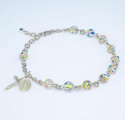 Murano Venetian Glass Round Rosary Bracelet Miraculous Medal & Crucifix ()