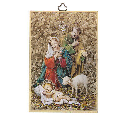 "Holy Family / Nativity Gold Foil Mosaic Plaque, Made in Italy, 6"" x 4"" x 1/4"""