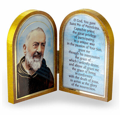 St. Padre Pio Diptych Standing Plaque with Prayer NEW Patron for Stress -