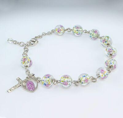 Murano Venetian Glass Round Rosary Bracelet Pink Enamel Miraculous Medal & Cross ()
