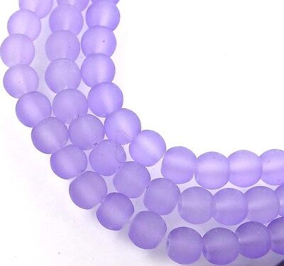 50 Czech Frosted Sea Glass Round / Rocaille Beads Matte - Lavender 6mm
