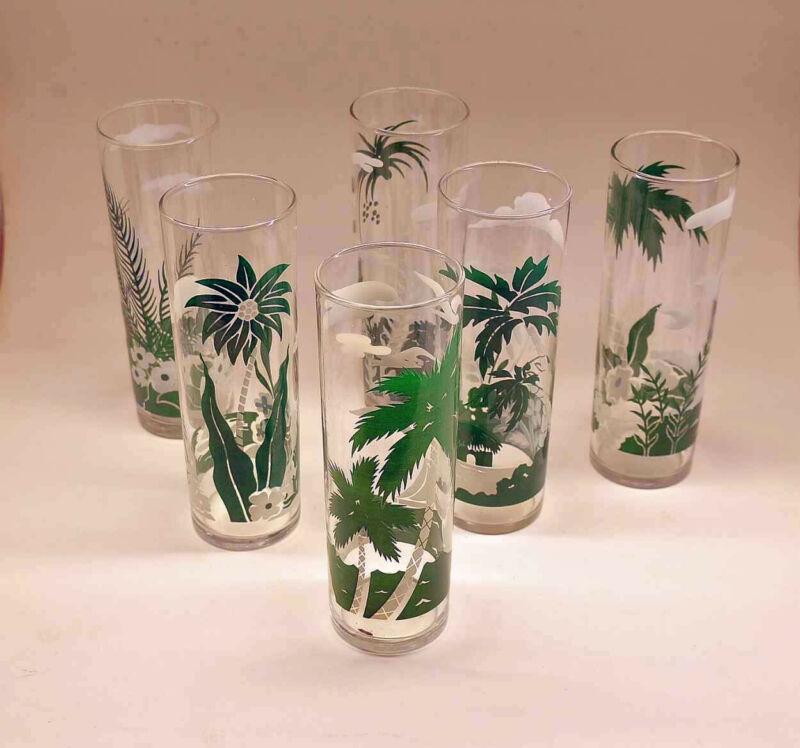 "6 Vtg Libbey Tropical Tiki Palm Tree 7"" Tall MCM Collins Ice Tea Julep Glasses"