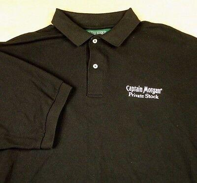 Captain Morgan Private Stock Black Golf Polo Shirt Sz Xl Rum Outer Banks Euc