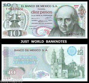 Mexico 1969 10 Pesos P-63b  Perfect Mint UNC Uncirculated Banknotes