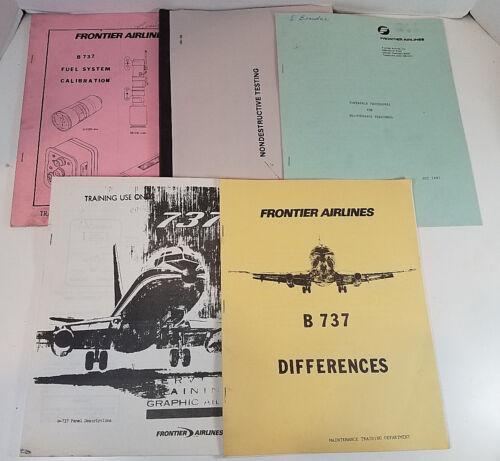 Vtg Original Frontier Airlines Boeing 737 Manuals Lot of 5 1973-86