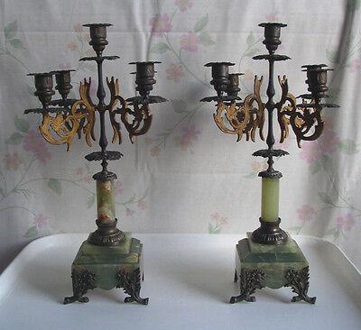 2 Kerzenleuchter Kandelaber Marmor Metall Jugendstil candlesticks Frankreich