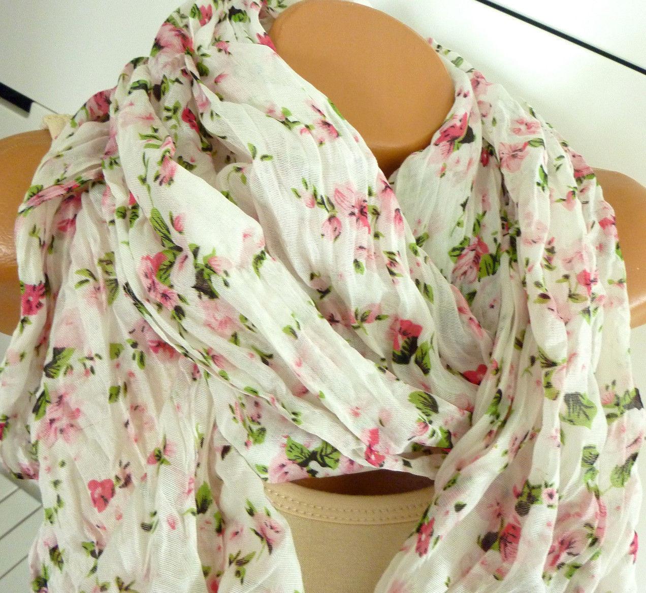 Damen Schal Tuch Halstuch Loop Crinkle Blumen Rosen Rosali Shabby Creme