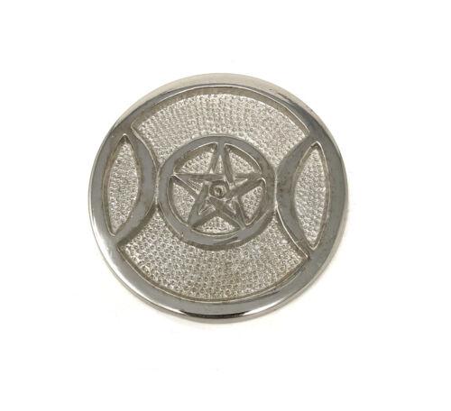 "3"" Silver Plated Triple Moon Incense Cone Sage Smudge BURNER  FREE SHIP Goddess"