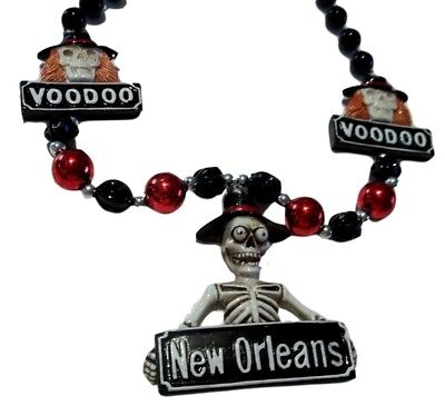 26c6e023506 Voodoo New Orleans Skeleton Mardi Gras Necklace Beads Bead