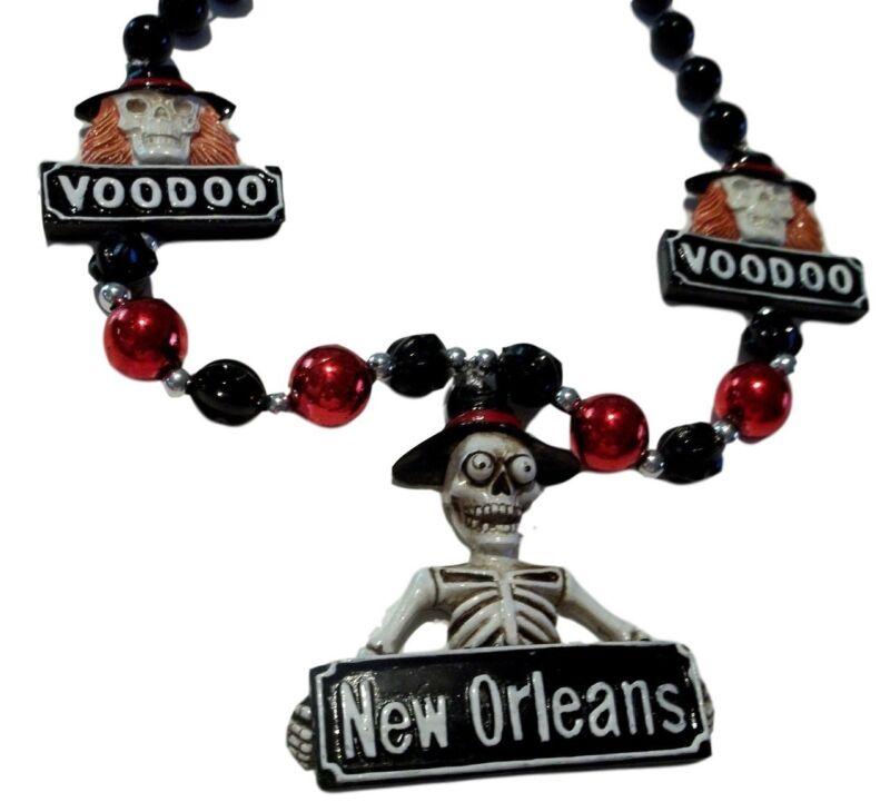 Voodoo New Orleans Skeleton Mardi Gras Necklace Beads Bead