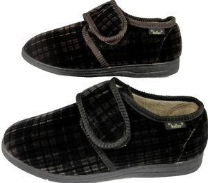 Mens Gents Dr Keller Comfort Wide Fitting House Slipper Brown Black Velcro 6