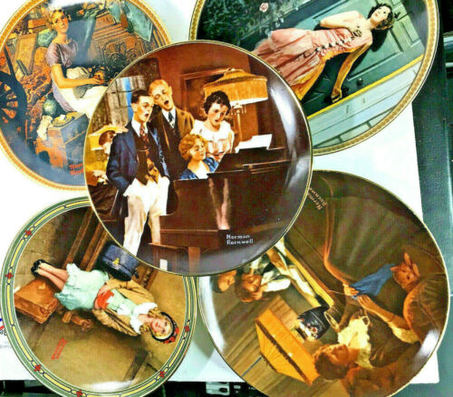 """lot of 5 Offical Norman Rockwell 7"""" Numbered Plates very good condition"""
