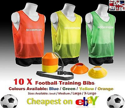 10 X ADULT TRAINING BIBS YELLOW (S) TEAM FOOTBALL SOCCER VEST BASKETBALL RUGBY