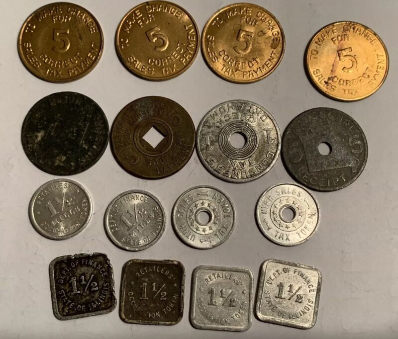 1930s State Tax Tokens, 17, Il., Az., Utah, Ok,, Mo., Mi.