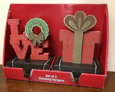 Set Of 2 Wood & Metal Christmas Stocking Hangers Love Wreath Present Gift Kohls ()