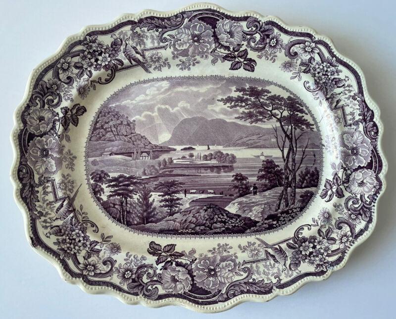 Antique Clews Hudson River Staffordshire Purple Transferware Large Platter 1800s