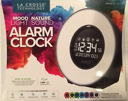 La Crosse 7 Color Mood Light LCD Alarm Clock with Nature Sounds - NEW