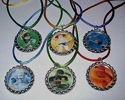 6 LEGO NINJAGO NECKLACE WITH MATCHING COLOR CORDS BIRTHDAY PARTY FAVORS