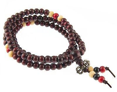 Mala Sandalwood Buddhist Prayer Chain Tibet Rosary Wood Bracelet 5 mm 56 CM