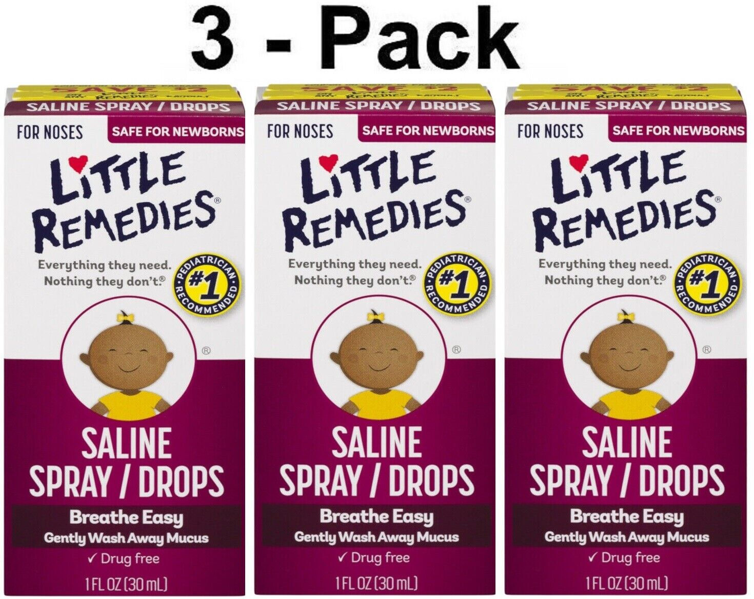 Little Remedies Saline Spray Drops for Dry Stuffy Noses 1 o