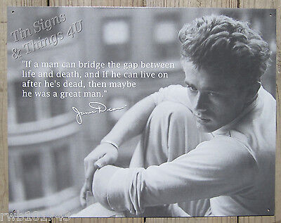 James Dean Great Man Tin Sign Metal B W Photo Poster Vtg Hollywood Quote 1518