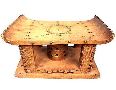Art African - Antique Stool Ashanti - Wood & Nails - Sculpture TOP - 43,5 Cm