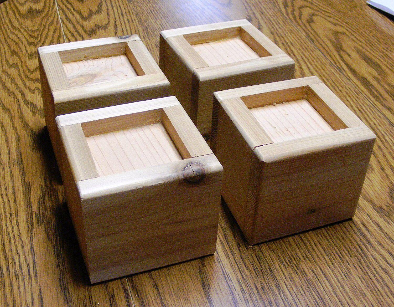 Solid Wood Bed Lifter Desk Riser Set of 4 For 3.25 x 3.25 Fu