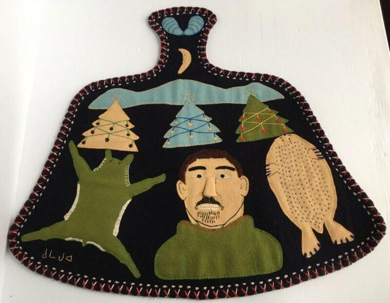 Northwest Native Inuit Eskimo Applique Felt Art Folk Wool Tapestry Wall Hanging