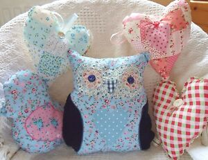 Patchwork Cushion Kit Owl Bird & Hearts Makes All 5! Gorgeous Sewing Craft Kit!