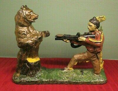 """INDIAN SHOOTING BEAR"" Mechanical Bank Original Antique"