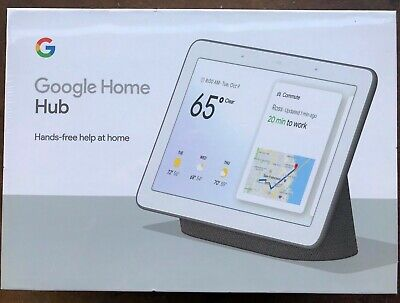 "New Google Nest Home Hub Black Charcoal Google Assistant Smart 7"" Display Voice"