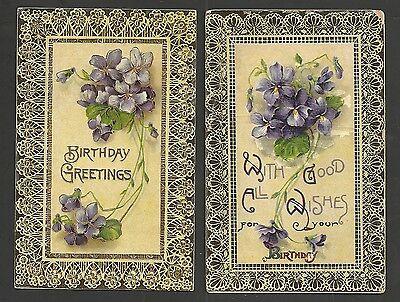 Lot of 2 Fancy Framed Violets Gold Details Vintage Postcards