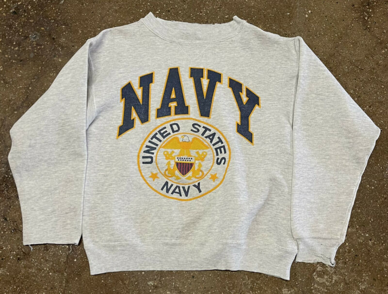 Vintage Youth U.S. Navy Crewneck Pullover Graphic Sweater Grey Sz Youth Large
